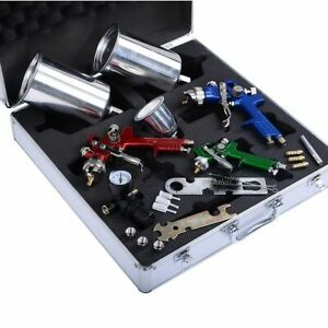 3 Hvlp Air Spray Gun Kit Auto Paint Car Primer Detail Basecoat Clearcoat New