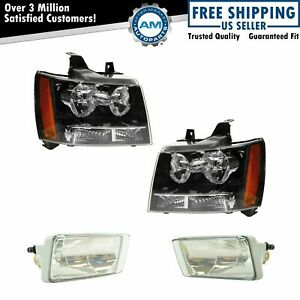 Headlight Fog Driving Light Lamp Lh Rh Kit Set Of 4 For Chevy Suburban Tahoe New