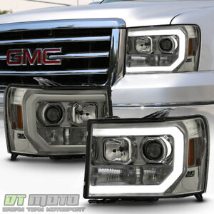 Smoked 2007 2013 Gmc Sierra 1500 2500 3500hd Led Optic Tube Projector Headlights