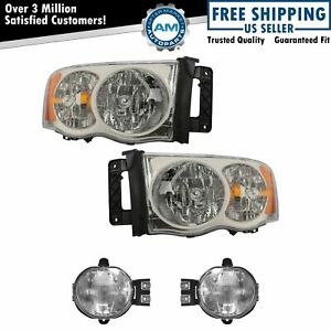 Headlight Fog Driving Light Lamp Kit Lh Rh Set Of 4 For 02 05 Dodge Ram New