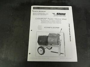 Stone Construction Champion 655pmp And 855pmp Plaster Mortar Mixer Parts Manual