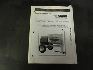 Stone Construction Champion 655pmp 855pmp Plaster Mortar Mixer Parts Manual