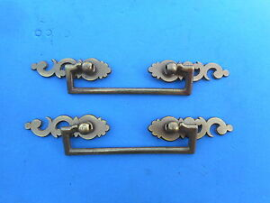 Nice Pair Of Solid Brass Furniture Pull Vintage Hardware Drawer Dresser Cabinet