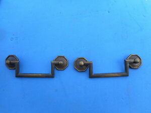 Two Vintage Solid Brass Drawer Dresser Pull Antique French Style Nice Quality 2