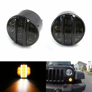 Smoked Lens White Light Bar Amber Led Turn Signal Lamps For 07 17 Jeep Wrangler