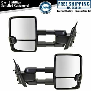 Tow Mirror Manual Led Signal Marker Light Spotlight Chrome Pair For Gm Pickup