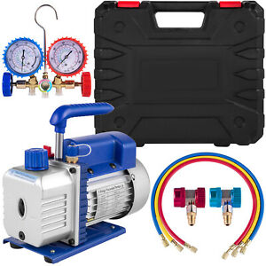 A c Diagnostic Auto Car Tester Manifold Set r134a 1 4hp 4cfm Vacuum Pump Set