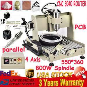 4 Axis 800w Cnc 3040t Router Engraving Cutting Drilling Machine 0 8kw Spindle