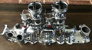 New Polished 1949 1953 Ford Flathead V8 Dual Intake Manifold W Chrome Carbs