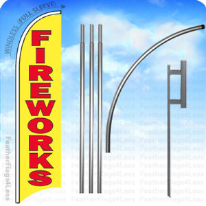 Fireworks Windless Swooper Flag 15 Kit Feather Banner Sign Yb
