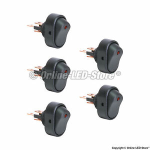 5pc Ols 12v Dc 30a 3 Pin Spst Led On Off Rocker Switches Red