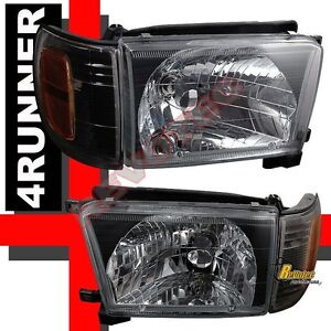 Black Headlights Corner Signal Lights Rh Lh For 1999 2002 Toyota 4runner