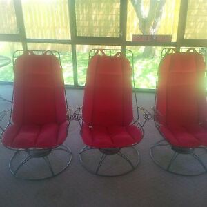 Vintage Homecrest Iron Patio Furniture Mid Century High Back Swivel Chairs