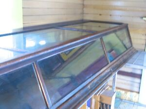 8ft Long 100yr Vintage Oak Glass Tabletop Showcase The Sun Mfg Co Columbus Oh