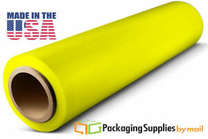 18 X 1500 80 Gauge 4 Rolls Shrink Stretch Film Cast Tinted Yellow Hand Wrap