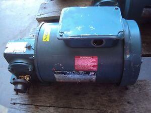 Reliance Gear Motor 1 2 Hp Fr Fc5 6p Rpm 1725 V 208 230 460 Ratio 10 0 used