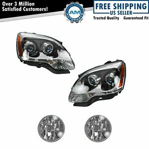 Headlight Fog Driving Light Lamp Kit Lh Rh Set Of 4 For Gmc Acadia Suv New