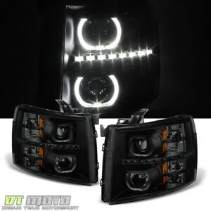 Black Smoke 2007 2013 Chevy Silverado 1500 2500 3500hd Headlights Led Halo Lamps