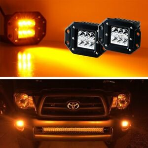 3k Amber Flush Mount 24w Cree Led Cubic Pod Lights For Truck Jeep Off road Atv
