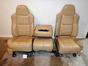 1999 2010 Ford F250 F350 F450 Superduty Tan Leather Lariat Interior Front Seats