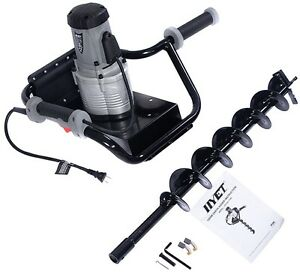 Post Hole Digger Earth Soil W 4 Auger Bit 1200w Electric 110v 1 6hp Easy Use