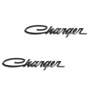 Oem Sail Panel Nameplate Emblem Chrome Pair Set Of 2 For 66 74 Dodge Charger New