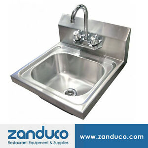 Omcan Stainless Steel Wall Mounted Hand Sink With 4 inch Faucet And Strainer