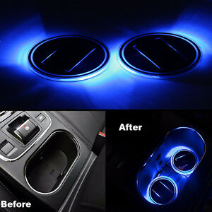 2x Led Light Solar Cup Holder Bottom Pad Cover Trim Atmosphere Lamp For All Car