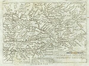 1667 Lovely Pocket Map Of Hungary By Marchetti Ortelius