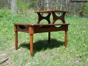 Vtg Mid Century Modern Step End Table Two Tier Sculptural Nightstand Kagan Era