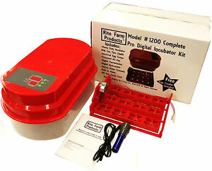 Blk Rite Farm 1200 Pro Digital 48 Quail 12 Chicken Egg Incubator Kit Turner Fan