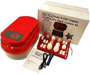 Rite Farm 1200 Pro Digital 48 Quail 12 Chicken Egg Incubator Kit Turner Fan