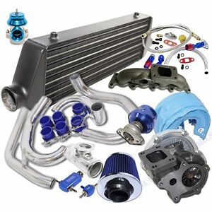Turbo Kit T3 t4 Turbo Black Intercooler For 00 05 Volkswagen Golf Jetta 1 8t