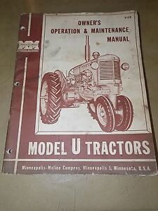 1958 1959 60 61 Minneapolis moline Model U Tractor Operation maintenence Manual