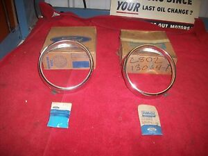1968 Ford Fairlane Ranchero Torino Gt Nos Rh Lh Outer Headlamp Bezels In Boxespr