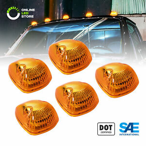 5pc Ols Universal Amber 12 Led Roof Top Marker Clearance Running Cab Lights