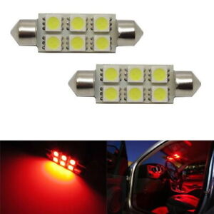 2 Red 6 smd Led Bulbs For Car Interior Dome Lights 1 72 Festoon 211 2 578