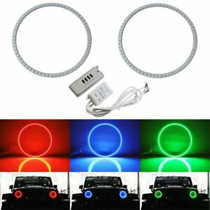 Rgb Multi color Led Angel Eyes Halo Rings For Jeep Wrangler Cj Tj Jk 7 Headlamp