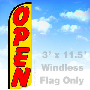 Open Windless Swooper Feather Flag Banner Sign 3x11 5 Yq