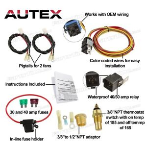 Dual Electric Cooling Fan Wiring Install Kit 165 185 Thermostat 50 Amp Relay