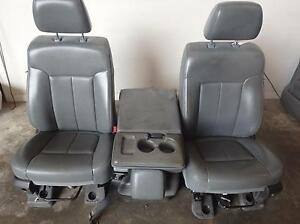 11 16 Ford F350 Super Duty Front Bench Seats W consol Grey Vinyl F250