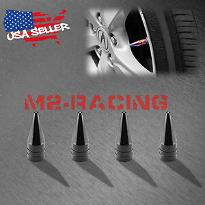 4pcs Black Long Spike Valve Stem Caps Metal Thread Set For Wheel Tires Tvc29