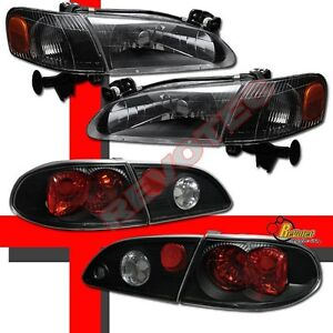 Black Headlights Corner Signal Lights Tail Lights For 98 99 00 Toyota Corolla