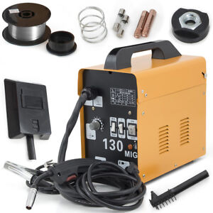 Mig 130 Flux Core Wire Welder Welding Machine W Cooling Fan Face Mask 115v Set