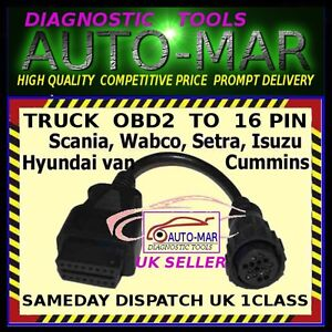 Scania Truck Diagnostic Cable 16 Pin Connector Autocom Delphi Opus Eclipse