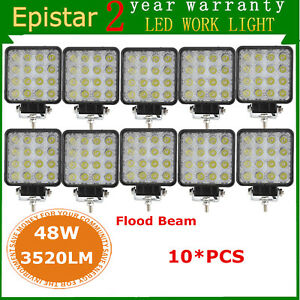 10x 48w Square Flood Led Work Light Offroad Fog Driving Suv Atv 4wd Truck Lamp