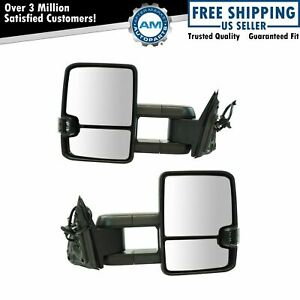 Tow Mirror Power Heated Smoked Turn Signal Led Spotlight For Gm Suv New