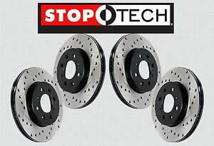 front Rear Set Stoptech Cross Drilled Brake Rotors evo W brembo Sts21570