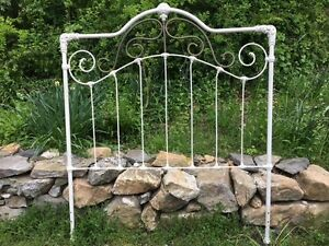 Vintage Antique Iron Bed Headboard Full Queen Size