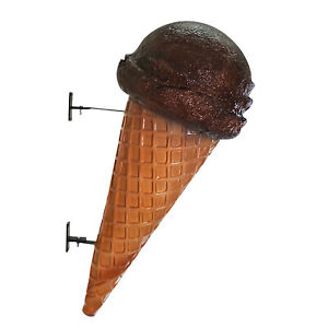 Wall Mount Chocolate Ice Cream Cone Advertising Street Sign Old Waffle Shop